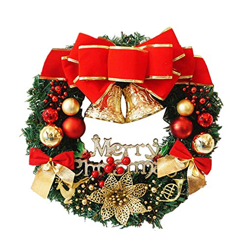 Monogram Canvas Jewelry Case - Baomabao 30cm Christmas Large Wreath Door Wall Ornament Garland Decoration Red Bowknot