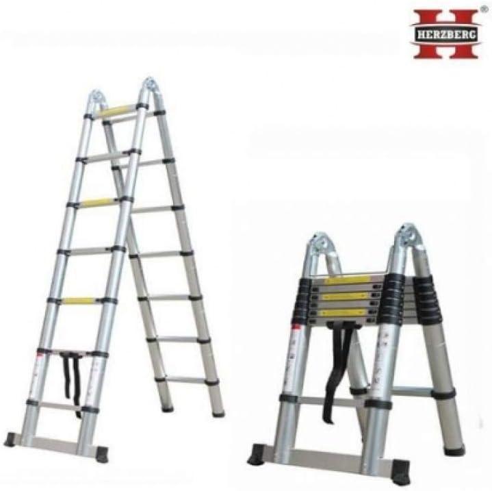 Herzberg HG-5440: Escalera Telescópica de Aluminio Retráctil - 4.40M: Amazon.es: Bricolaje y herramientas