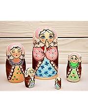 Matryoshka ruso 5 piezas muñecas de nidificación Babushka 10 cm de madera