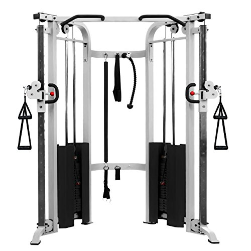 XMark Fitness Functional Trainer Cable Machine with Dual 200 lb. Weight Stacks, 19 Adjustments And Accessory Package XM-7626-WHITE Exclusive Workout...