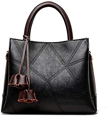 AODEK Womens Shoulder Messenger Bag PU Litchi Pattern Simple Large Capacity Splicing Big Bag