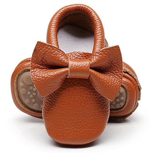 HONGTEYA Leather Baby Moccasins Hard Soled Tassel Crib Toddler Shoes for Boys and Girls (12-18 Months/5.12inch, Bow-Brown) ()