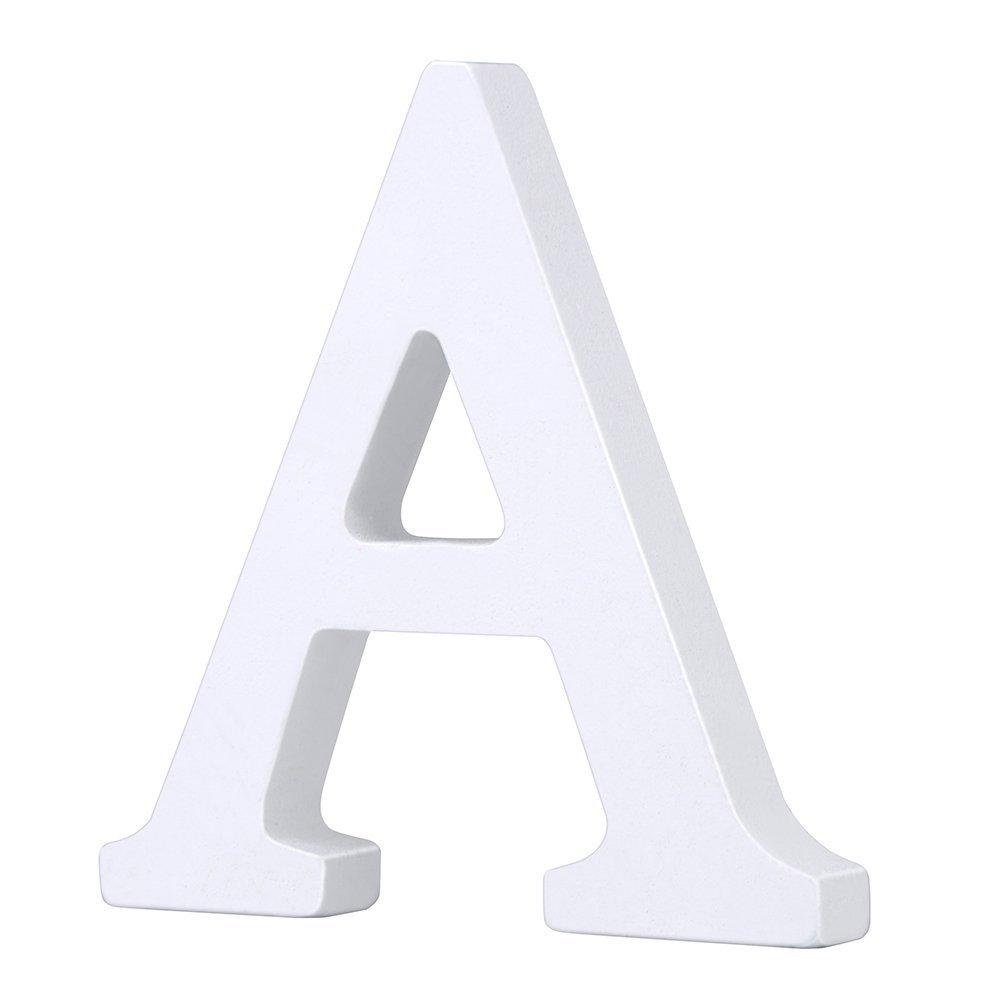 Venkaite 1 von A-Z DIY Holzbuchstabe Buchstabe / Holz Buchstaben Malen Dekorationen für Party Hochzeit Fest Deko Weiß Modisch, (N) 3020WH