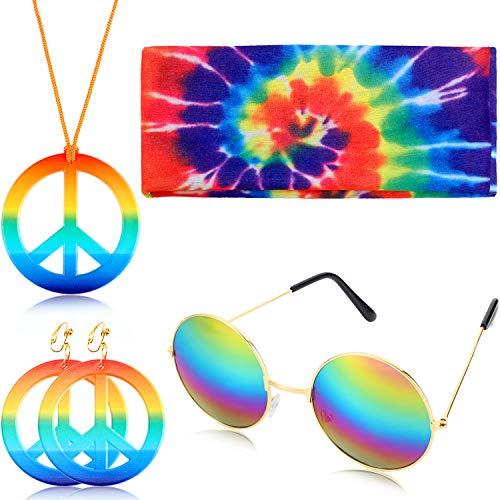 4 Pieces Hippie Peace Costume Set, Include Peace Sign Necklace Earring Rainbow Headband Round Hippie Sunglasses (Rainbow Pendant)