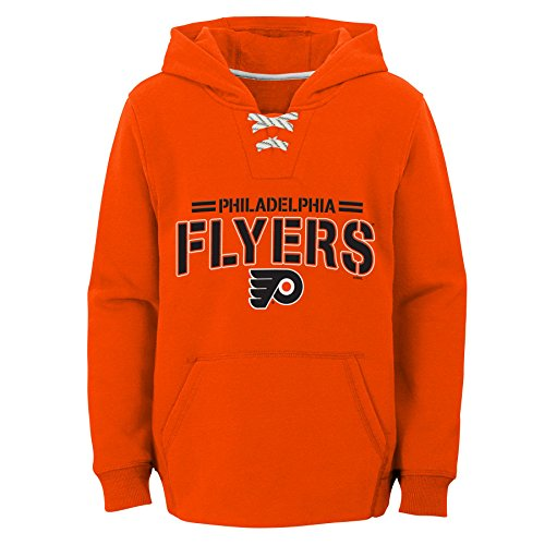 NHL Philadelphia Flyers Youth Boys Standard Issue Fleece Hoodie, Medium(10-12), Orange