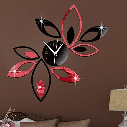 Big Flower Lotus DIY 3D Art Acrylic Mirror Wall Clock DIY Wall Sticker - Black - Fashion Blogs Favorite