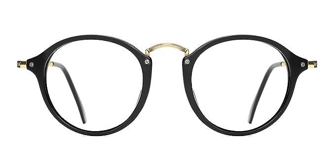 TIJN Herren Damen Retro Runde Brille Ohne Stärke Klare Linse Brillenfassung Rot 5Gdt53