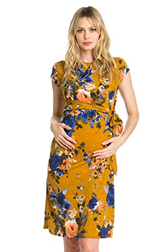 My Bump Women's Side Bow Tie Pattern Cap Sleeve Maternity Dress(Made In USA) (X-LARGE, MUSTARD/ROYAL FLOWER)