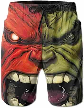 effa33582f The Hulk Mens Swim Trunks Summer Quick Dry Board Shorts Elastic Waist  Swimwear Bathing Suit with