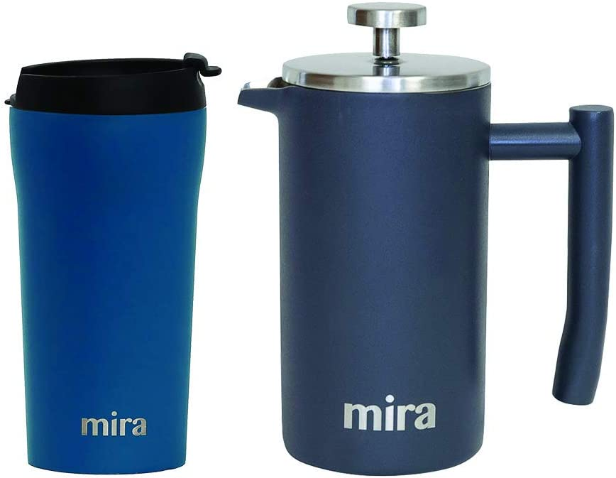 MIRA Coffee Lover Bundle with 12oz Insulated French Press (Gray) and 12oz Insulated Travel Mug (Hawaiian Blue)