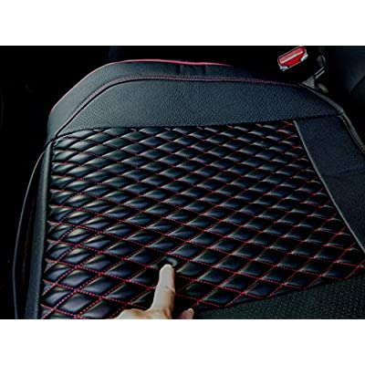 Thomakoo Luxury PU Leather Car Seat Cushion Front Seat Cover Bottom Protector,Fit for More Than 90% Cars, 1 Piece (21.02×20.62 Inches) (Black&Red): Automotive