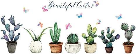 1 unid extraíble Cactus en Maceta Planta Tatuajes de Pared murales ...