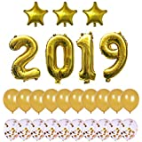 Gold 2019 New Years Decoration, 40Inch Number Foil Balloons,18inch Mylar Foil Star Balloon,and 12inch Gold confetti Ballons - 2019 Graduation Decorations - New Years Eve Party Supplies