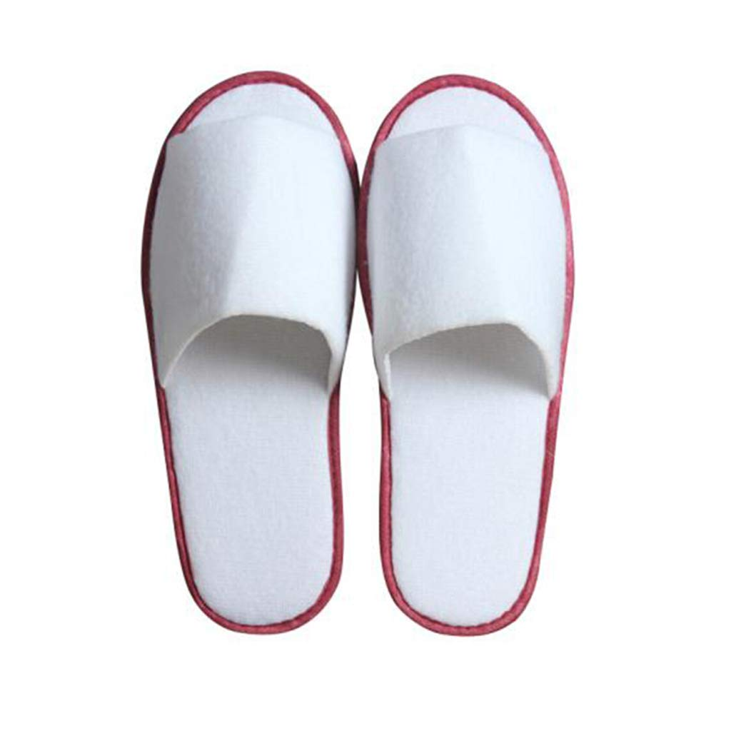 Red side 100 pairs GZZ Disposable Slippers White Disposable Slippers Men's Slippers Women's Household Slippers Five-Star Hotel Hotel Sauna Room Club Beauty Unisex Slippers 28.5  10.6cm