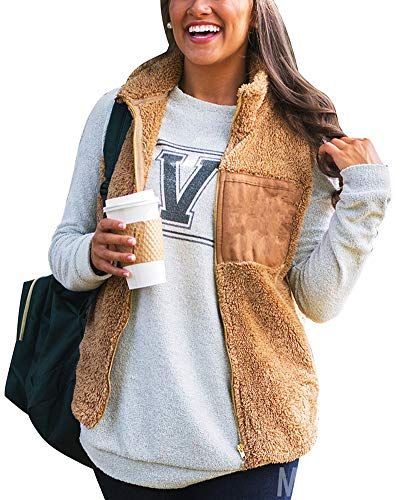 - ThusFar Women's Fuzzy Sherpa Vest- Casual Sleeveless Front Zip Up Fleece Vest Large Brown