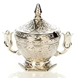 Lale First Quality Silver Plated Copper Oval Sugar Candy Guest Bowl,Tulip Holder - Made in Turkey