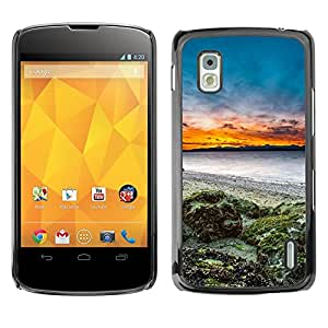 Hot Style Cell Phone PC Hard Case Cover // M00102247 sunset nature seaside // LG Nexus 4