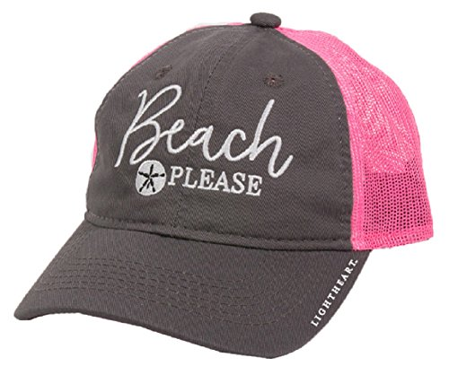 Light Heart Beach Please Sand Dollar Grey Neon Pink Mesh Baseball Style Hat - Inspirational Adult Tshirt