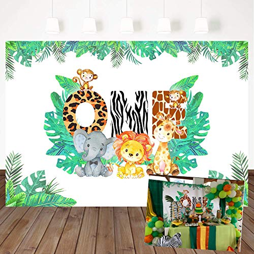 (Mehofoto Jungle Theme Background 1st Birthday Backdrop Safari Animals Zoo Background for Boy 7x5ft Lion Giraffe Elephant Monkey, Animals Boy Baby First Birthday Party Banner Decorations)