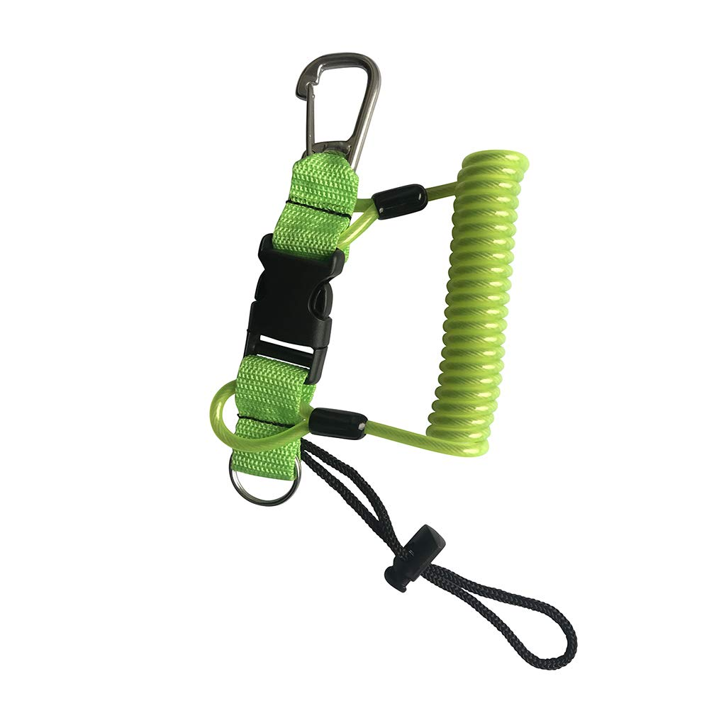 Kinno Scuba Spring Rope, Diving Lanyard Anti-Lost Spring Coiled Buckle for Diving Camera Cover Rope (Green)