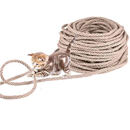Nabance Sisalseil für Kratzbaum, 6mm (30 Meter) Natürlich Sisal Seil Extra robust und langlebig Sisalseil für Kratzsaule…