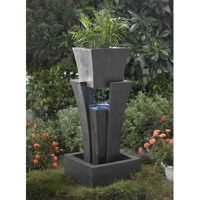 Jeco Inc. FCL048 Raining Water Fountain with Planter with Led Light
