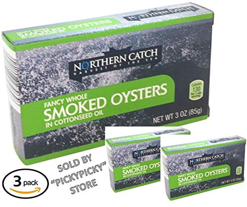 SMOKED OYSTERS IN COTTONSEED OIL, 3 Ounce (Pack of 3)