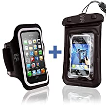 iPhone 5 Armband + BONUS Waterproof Phone Case / Bag - Best Fit for Running, Jogging, Sports, Workouts and exercise. Fits 5, 5s, 5c Phones. Sweat Proof Neoprene Material. Fully Adjustable for Women and Men. Protect Your Cell Phone Investment - Easy Access to Screen Via Clear Protective Cover and Easy Earphone Connection   Satisfaction Guaranteed - You Get Both Great Products