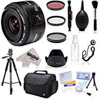 Yongnuo 35mm f/2 AF HD Prime Lens with Hood, Filters, Tripod, Case, Blower, Brush, Cleaning Cloth for Canon EOS 80D, 70D, 60D, 50D, 7D, 6D, T6i, T6s, T6, T5i, T5, T4i, T3i and T3 Digital SLR Cameras