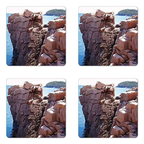 Lunarable Acadia Coaster Set of Four, Rocks on Atlantic Coast of Maine Ocean and Limestone Photo, Square Hardboard Gloss Coasters for Drinks, Pale Redwood Pale Sky Blue ()