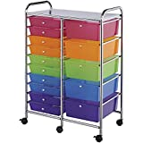 Blue Hills Studio Double Storage Cart with 15 Drawers, 25.5''x38''x15.5'', Multi-Color