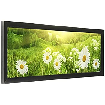 set of 2 24 x 8 panoramic photo frame for wall mount use 1 inch profile aluminum black