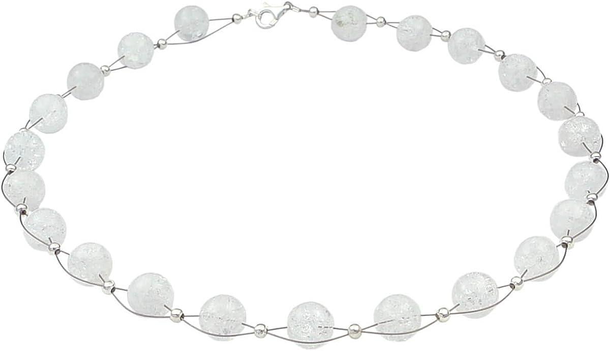 Collar de bolas de cristal de roca con estructura de color blanco, 48 cm, para vestido de novia