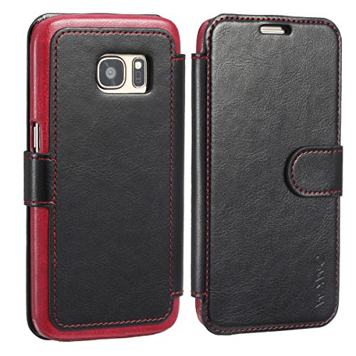 (WAWO Soft PU Leather Wallet Case for Samsung Galaxy S7 Cell Phone (Black))
