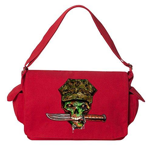 Tenacitee Marine Skull Red Brushed Canvas Messenger Bag