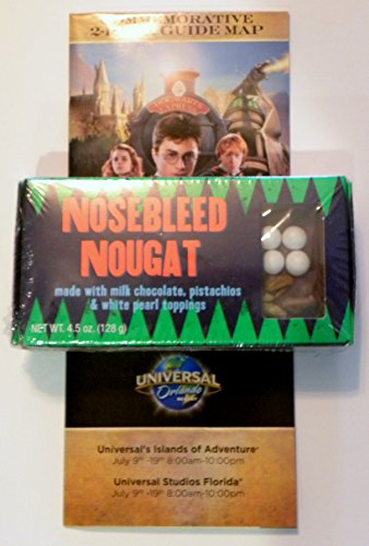 (Universal Studios Wizarding World of Harry Potter Diagon Alley Nosebleed Nougats Chocolate Pistachio Nut Wizarding Weasleys Candy Store 4.5 Oz & Commemorative Opening Week Map Gift Set)