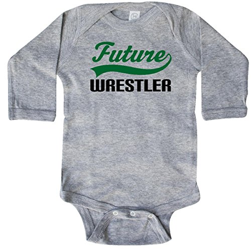inktastic - Future Wrestler Long Sleeve Creeper 6 Months Heather Grey 14f35