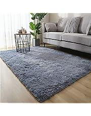 F-FISH Pluche tapijt, pluizig, decoratief tapijt, rechthoekig, absorberend, antislip, eenvoudig, geschikt voor woon- en slaapkamer, 80 x 120 cm
