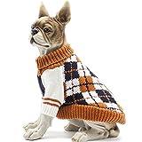#9: BOBIBI Dog Sweater of the Diamond Plaid Pet Cat Winter Knitwear Warm Clothes,Orange,XL