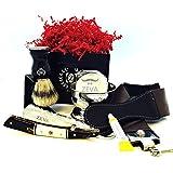 ZEVA Men's Buffalo Horn Camel Bone Straight Razor Shaving Set kit in Gift Box, Cut throat Razor, Shaving Mug with Soap, Badger Hair Shaving Brush