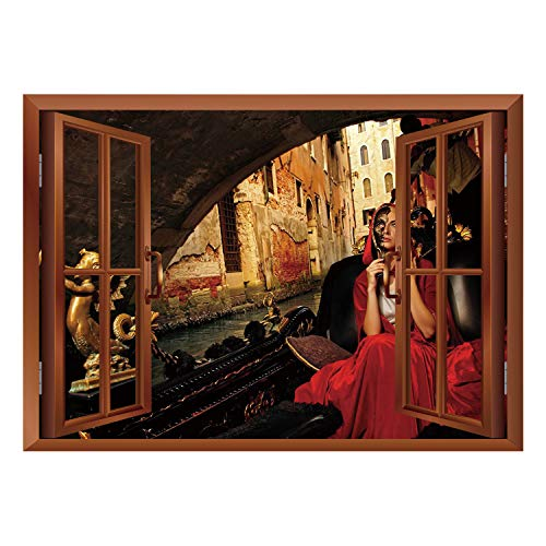 SCOCICI Window Mural Wall Sticker/Venice,Young Woman with a Red Cloak and Carnival Mask Riding on Antique Gondola,Red Black Light Brown/Wall Sticker -