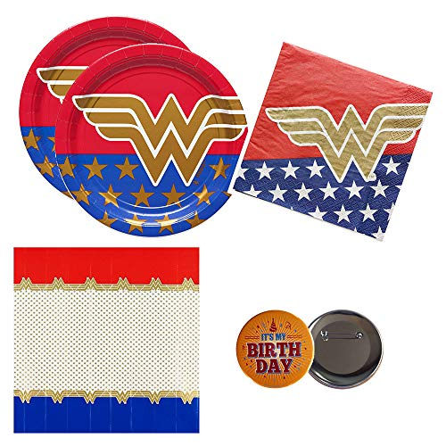 RazzleDazzleCelebrations Officially Licensed Wonder Woman Party Supplies for 16 Guests - Plates, Napkins, tablecover + Birthday Button]()