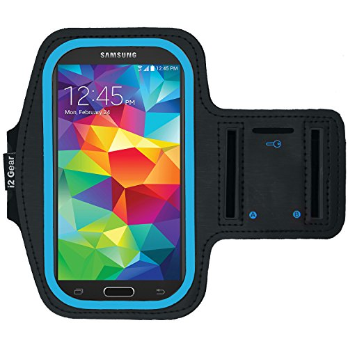 Running and Exercise Workout Armband Case for Samsung Galaxy S6 S5 S4 iPhone 6 6S, Google Pixel, and HTC One Mobile Cell Phones with Adjustable Sport Band, Reflective Border and Key Holder (Cyan)