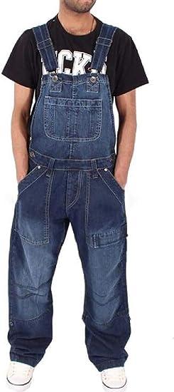 FRPE Men Loose Fit Multi Pockets Wide Leg Denim Pants Jumpsuit Denim Bib Overall