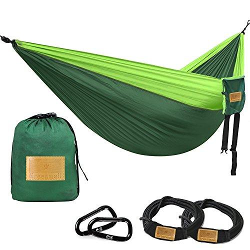greenmall Größe Doppel Camping Hängematte, Premium tragbar leicht Parachute Nylon Hängematte, perfekt für Rucksackreisen, Reisen, Strand, Wandern,, 300cm * 200cm, 3Jahre Garantie, Blue&Gray