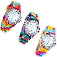 Lancardo Weekender Fine Rainbow Watch Watch With Slip-Through Silicone Strap (Pack of 3)