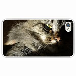 Customized Apple iPhone 4 4S Hard PC Case Diy Personalized DesignCover Siberian fluffy eyes White
