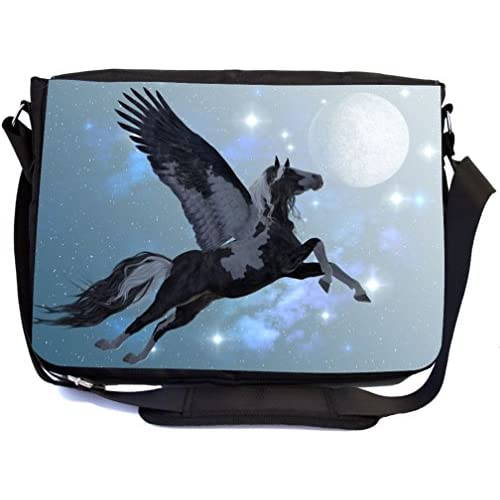 Rikki Knight Flying Pegasus Design Multifunctional Messenger Bag - School Bag - Laptop Bag - with padded insert for School or Work - Includes Matching Compact Mirror