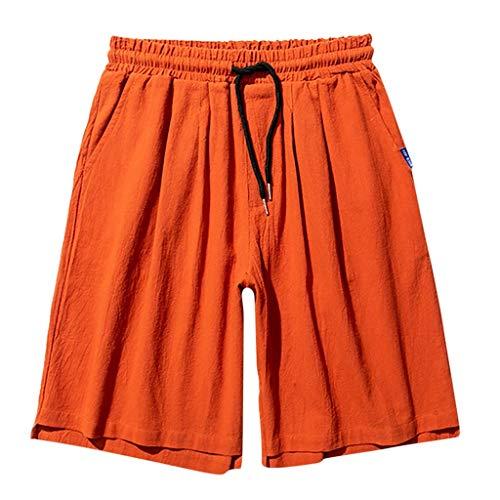 TANLANG Men Summer Quick Dry Linen 3/4 Capri Outdoor Hiking Pant Casual Drawstring Leisure Vacation Surf Beachwear Shorts Orange