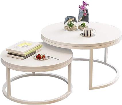 Tavoli Rotondi Moderni A Incastro 2 Pezzi Tavolini Da Salotto Tavolini Da Salotto Rotondi Tavolini Da Salotto In Legno Bianco Amazon It Casa E Cucina